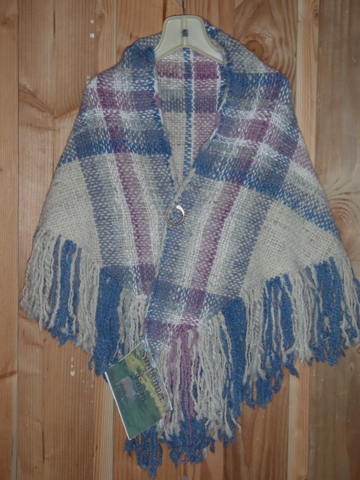 Photo of the blue and purple shawl.
