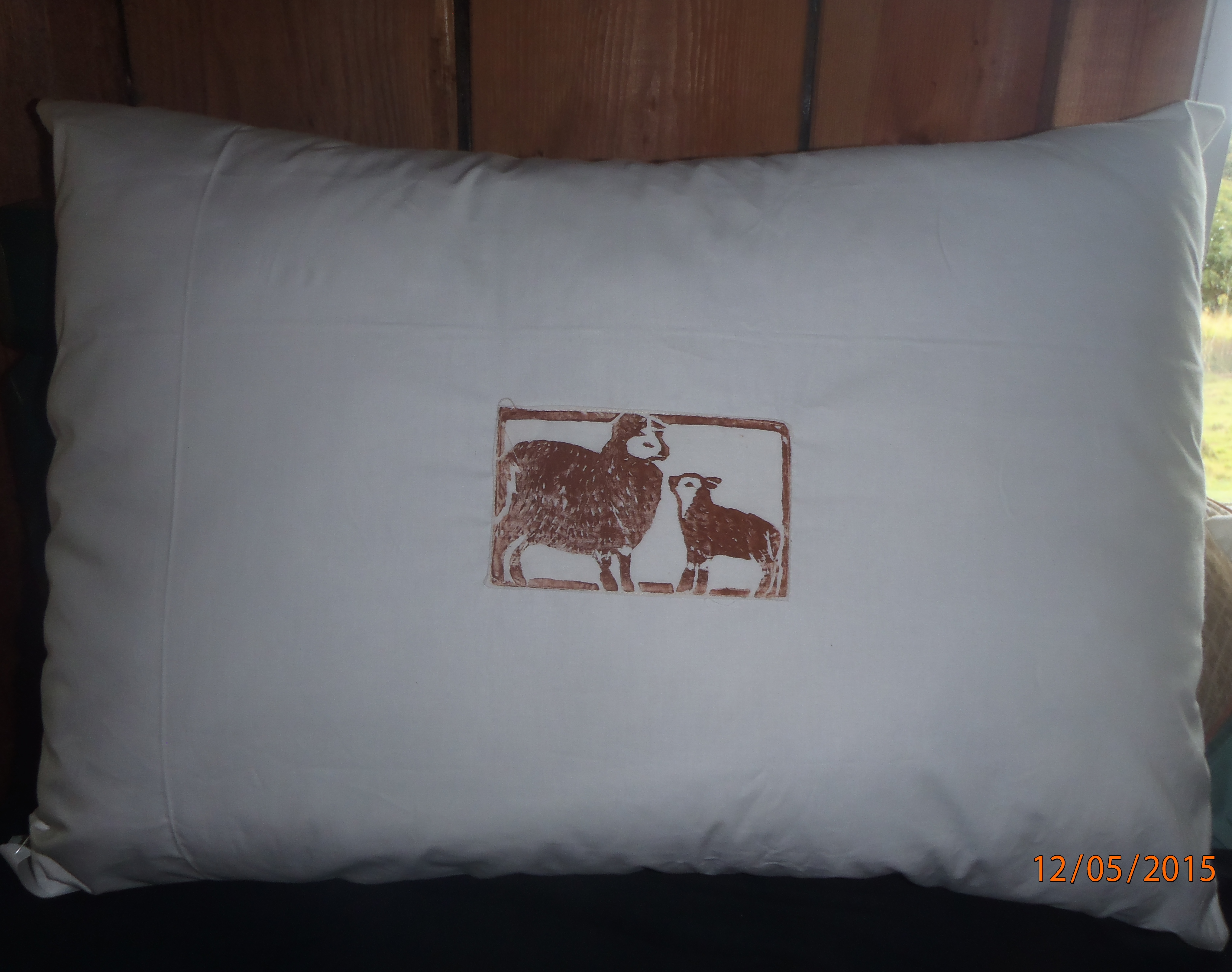 Photo of one of our wool filled bed pillows.