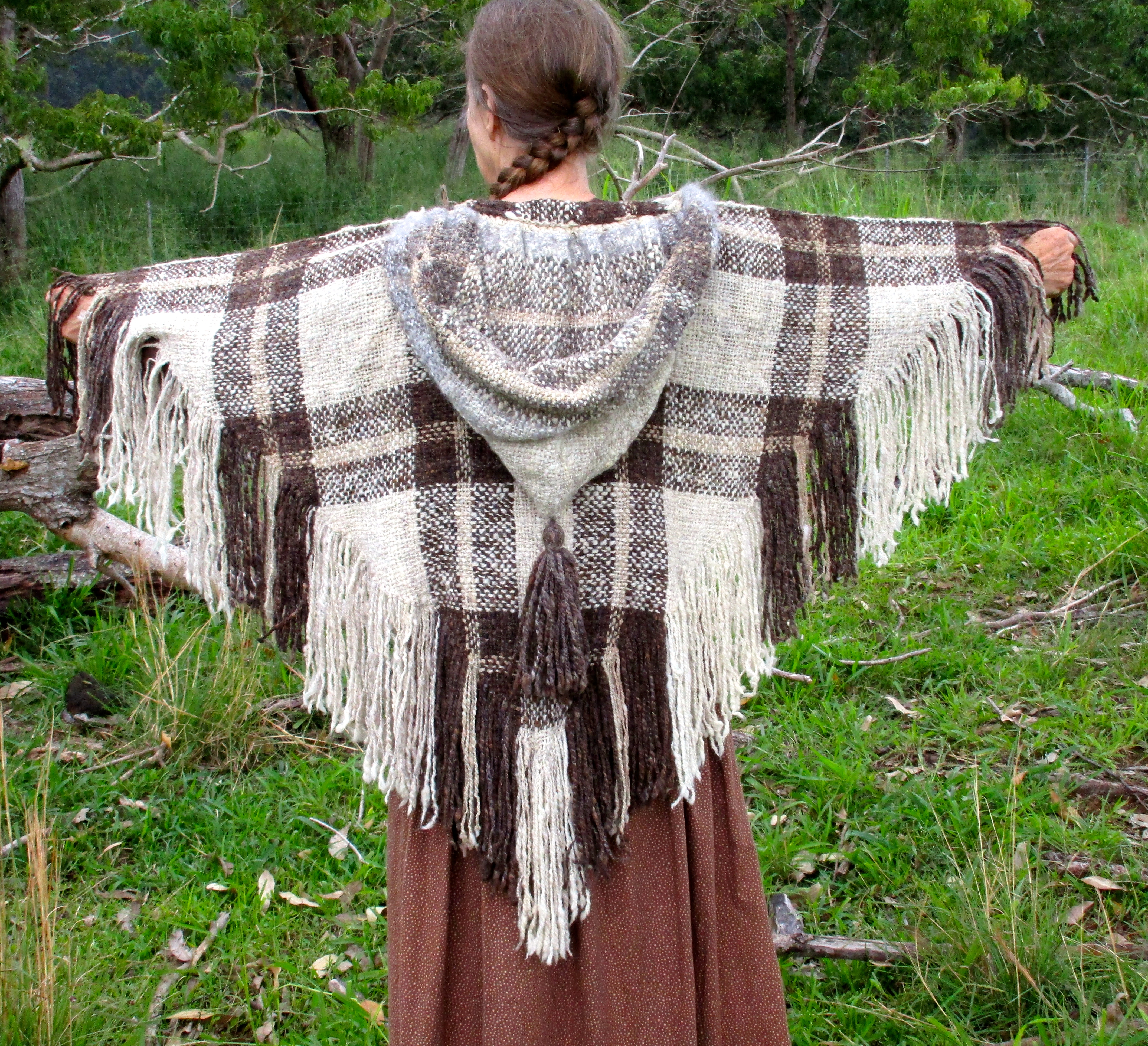 Photo of the brown hooded shawl.
